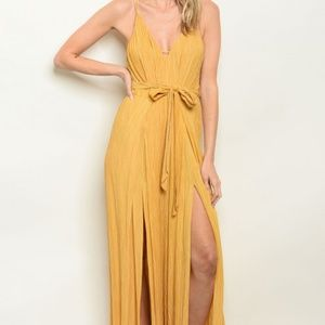 MUSTARD YELLOW BELTED JUMPSUIT WITH SLITS